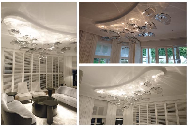 designerska lampa wisząca ze szkła artstycznego